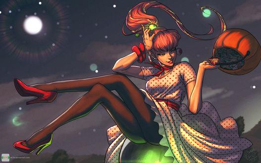 Обои Рыжеволосая девушка на фоне ночного неба, by dCTb