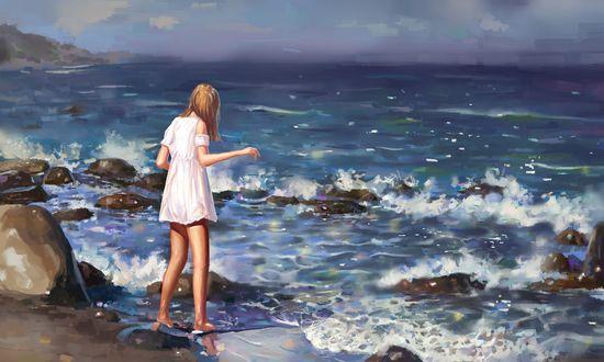 Обои Девушка в белом платье стоит у воды