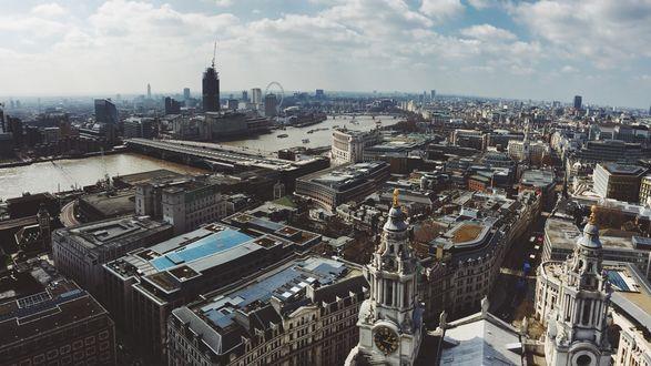 Обои Город Лондон, Великобритания, вид сверху
