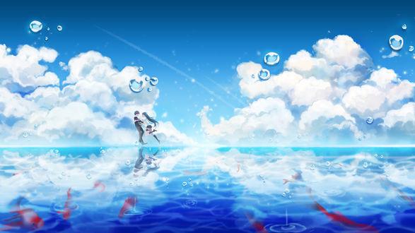 Обои Сеха Ли / Seha Lee и Юри Сэо / Yuri Seo из аниме Доводчики: Отряд «Черные агнцы» / Closers: Side Blacklambs, на фоне облачного неба