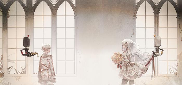Обои YoRHa №2 тип B и YoRHa №9 тип S из игры NieR: Automata, автор Tenzuki