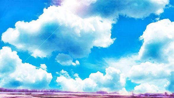 Обои Облачное небо над заснеженным полем, by itoaya♪