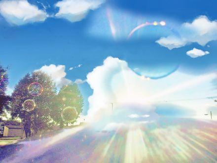 Обои Мыльные пузыри над дорогой, by itoaya♪