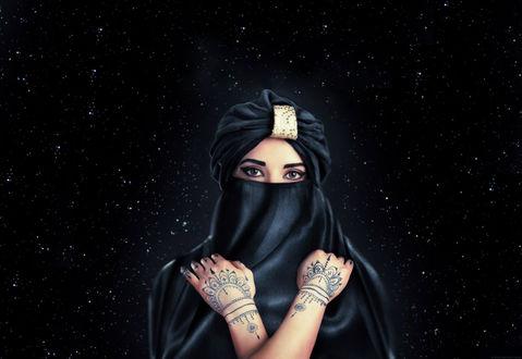 Обои Девушка в парандже с тату на руках на фоне звездного неба, by Iuliia Stepashova