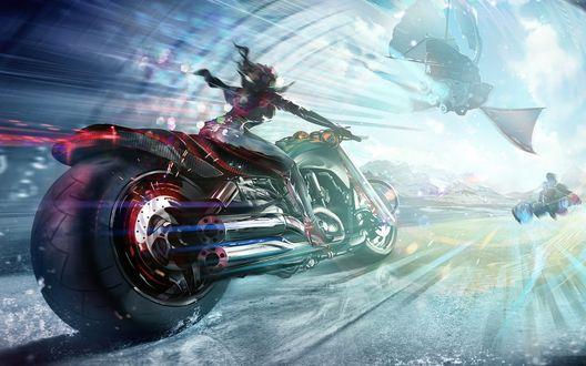 Обои Девушка на футуристическом мотоцикле гонится за парящим в небе парусником