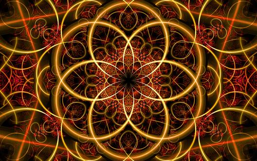 Обои Абстрактная композиция в красно-желто-черных тонах