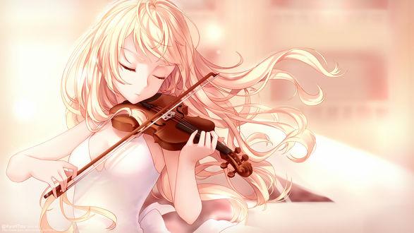 Обои Каори Миязоно / Kaori Miyazono из аниме Твоя апрельская ложь / Shigatsu wa Kimi no Uso, с закрытыми глазами играет на скрипке