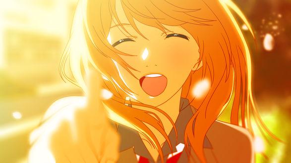 Обои Смеющаяся Каори Миязоно / Kaori Miyazono из аниме Твоя апрельская ложь / Shigatsu wa Kimi no Uso