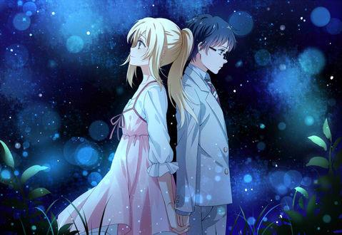 Обои Косэй Арима / Kousei Arima и Каори Миязоно / Kaori Miyazono стоят друг к другу спиной на фоне ночного неба, персонажи из аниме Твоя апрельская ложь / Shigatsu wa Kimi no Uso