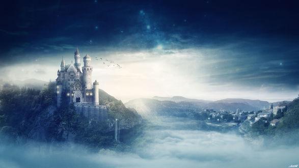 Обои Замок на холме, by FantasyArt0102