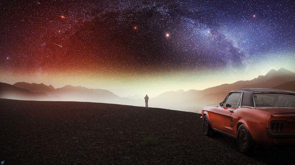 Обои Мужчина смотрит на звездное небо, by FantasyArt0102