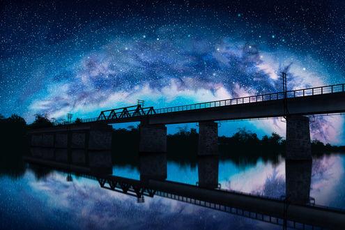 Обои Мост над рекой на фоне ночного звездного неба, by liwei191