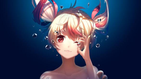 Обои Девушка под водой с пузырем в руке, автор Rosuuri