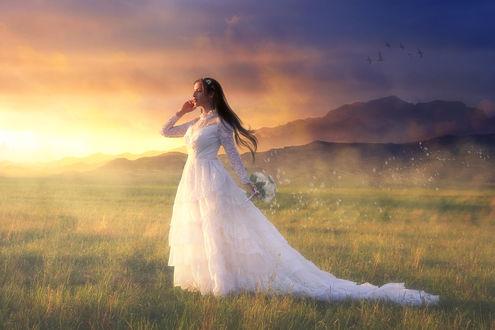 Обои Невеста с букетом цветов стоит в поле, by Buzhan
