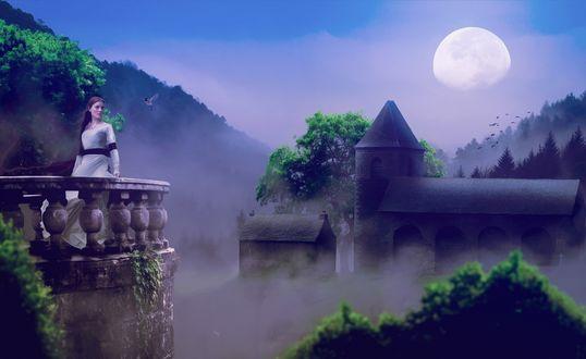 Обои Девушка в белом платье стоит возле каменного парапета, позади нее виднеется замок и строения, которые затягивает туманом, на фоне голубого неба и огромной восходящей луны