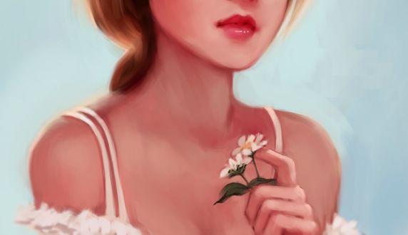Обои Девушка с цветами в руке