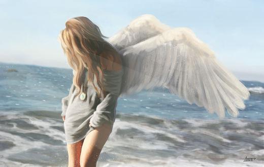 Обои Девушка с крыльями стоит на фоне моря, by Dmitriy Petrenya