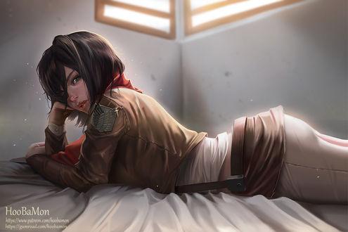 Обои Микаса Аккерман / Mikasa Ackerman из аниме Атака Титанов / Shingeki no Kyojin, by Hoobamon