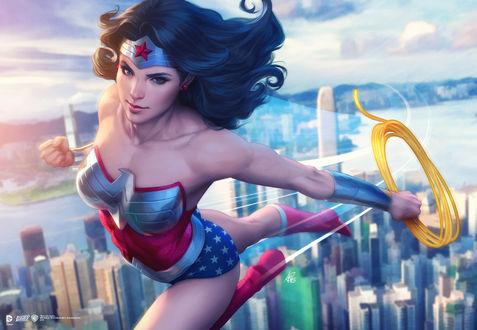 Обои Чудо-Женщина / Wonder Woman из мультфильма Лига Справедливости / Justice League, by Artgerm