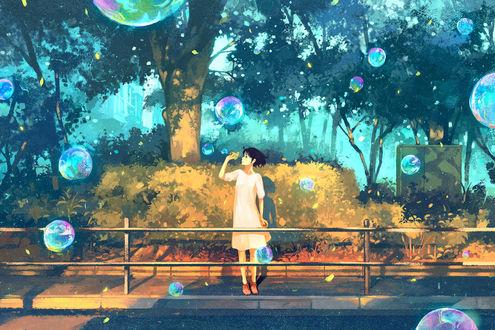 Обои Девушка пускает мыльные пузыри, by げみ*ティアむ04b