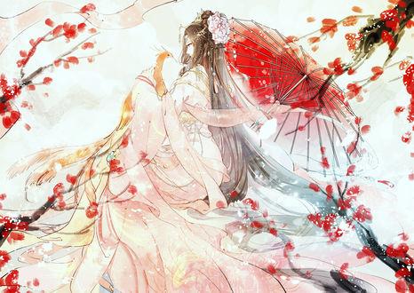 Обои Девушка держит на руках птицу, by みえこ mieZ