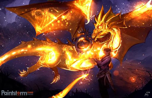 Обои Эльф и огненный дракон, by ryky