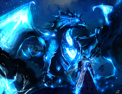 Обои Воин и дракон, объятый голубым пламенем, by ryky