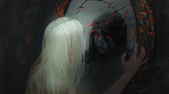 Обои Белокурая девушка смотрит в разбитое зеркало, в котором отражается темноволосая девушка с красными глазами, by Nieris