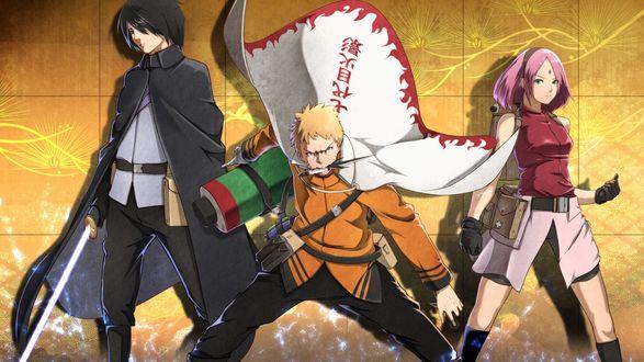 Обои Наруто Узумаки / Naruto Uzumaki, Саске Учиха / Sasuke Uchih и Сакура / Sacura из аниме Боруто: Новое поколение Наруто / Boruto: Naruto Next Generations