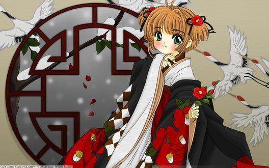 Обои Сакура Киномото / Sakura Kinomoto в кимоно из аниме Сакура - собирательница карт / Card captor sakura