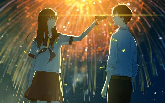 Обои Девушка в школьной форме направила пистолет на парня, стоя на фоне взрывающегося фейерверка в ночном небе, art by loundraw
