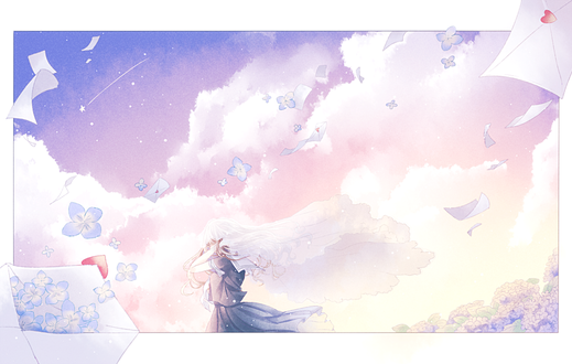 Обои Девушка закрыла уши руками, стоя на фоне облачного неба, by 花乃子