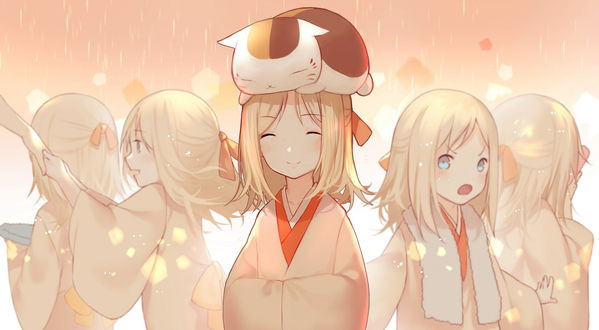 Обои Nyanko-sensei / Нянко-сенсей из аниме Natsume's Book of Friends / Natsume Yuujinchou / Тетрадь дружбы Нацумэ сидит на голове у девочки, by 皇♦小J