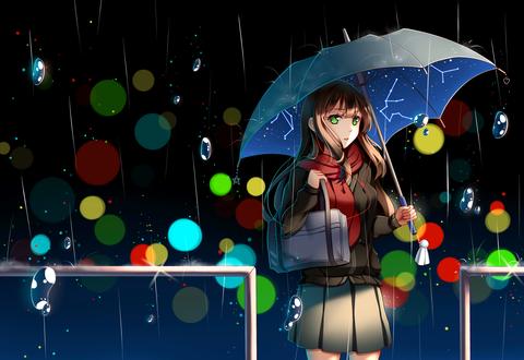 Обои Рин Сибуя / Rin Shibuya из аниме Идолмастер: Девушки-золушки / The iDOLM@STER Cinderella Girls, с зонтом в руке стоит под дождем