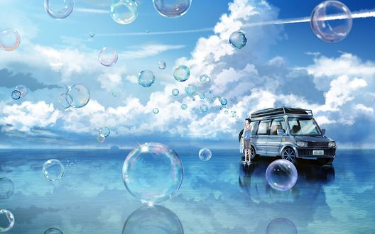 Обои Парень стоит в воде у машины и запускает в небо мыльные пузыри, by Fusui