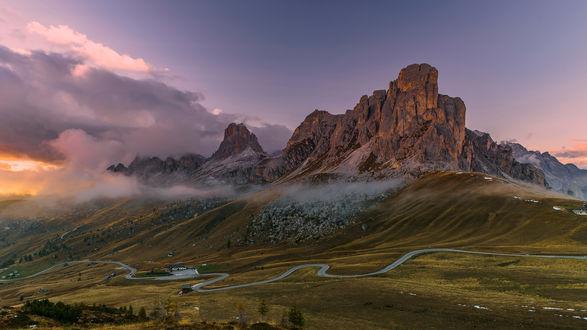 Обои Восход солнца, Доломитовые Альпы, Италия