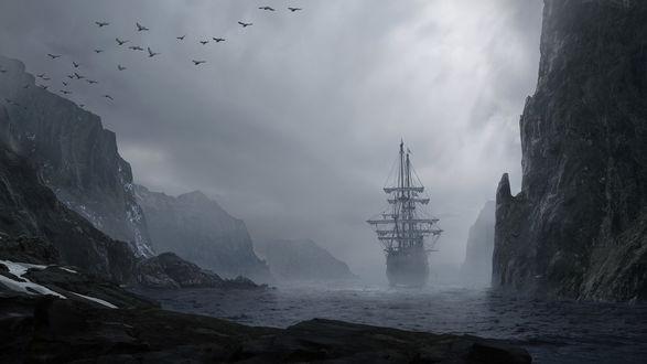 Обои Линейный корабль уходит в открытое море
