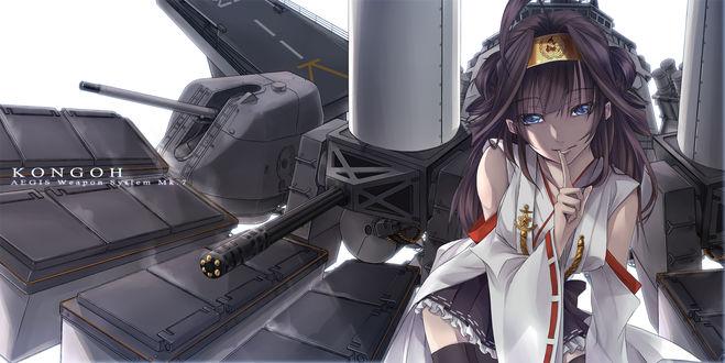 Обои Kongon на фоне авианосца из игры Флотская коллекция / Kantai Collection, art by Kito-bn