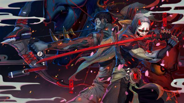 Обои Genji и Hanzo сражаются спина к спине из игры Overwatch / Дозор, art by Squidsmith