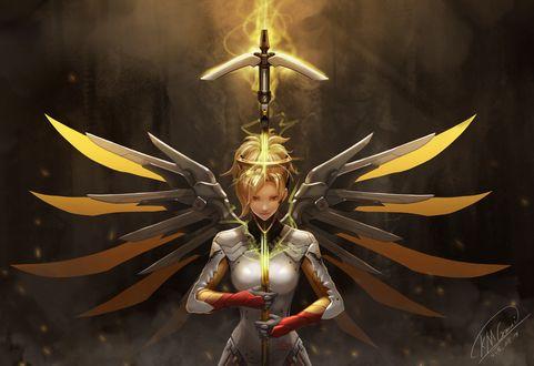 Обои Mercy / Ангел / Ангела Циглер из игры Overwatch / Дозор, art by Kmgmai