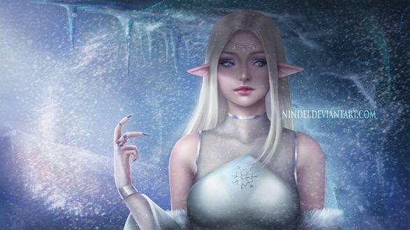 Обои Светловолосая девушка эльфийка на фоне зимней стенки, by Nindei