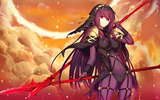 Обои Lancer / Лансер / Копейщик / Скатах / Scáthach / Scathach / Sukasaha из онлайн RPG игры Fate / Grand Order стоит с двумя копьями на фоне оранжевых облаков, автор Kauto