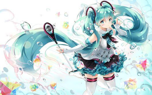 Обои Вокалоид Хатсуне Мику / Vocaloid Hatsune Miku стоит у микрофона