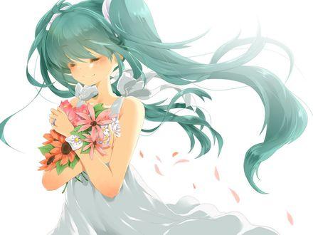 Обои Вокалоид Хатсуне Мику / Vocaloid Hatsune Miku прижимает к груди букет цветов