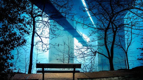 Обои Лавочка под мостом в свете фонаря