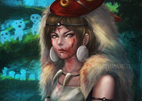 Обои San / Сан и лесные духи из аниме Принцесса Мононокэ / Mononoke Hime, by Nindei