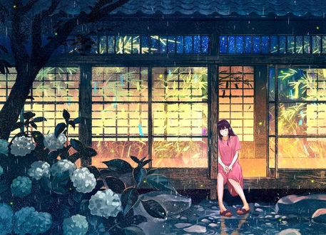 Обои Девушка спит на крыльце дома, by げみ*ティアむ04b