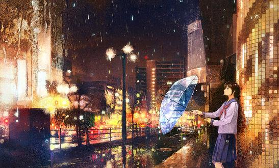 Обои Школьница с зонтом на улице вечернего города, by げみ*ティアむ04b