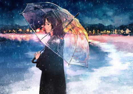 Обои Девушка под зонтом стоит на морском берегу, by げみ*ティアむ04b
