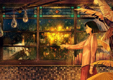 Обои Девушка прикладывает сухие цветы к мокрому стеклу, от чего получается пышный букет, объятый пламенем, by げみ*ティアむ04b